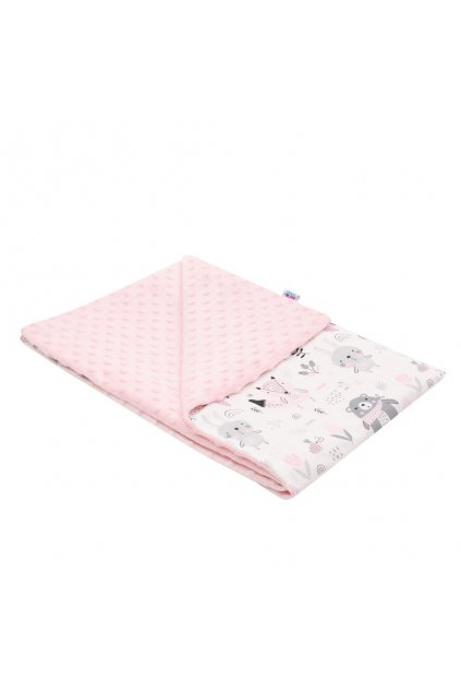 Detská deka z Minky New Baby Medvedíkovia ružová 80x102 cm