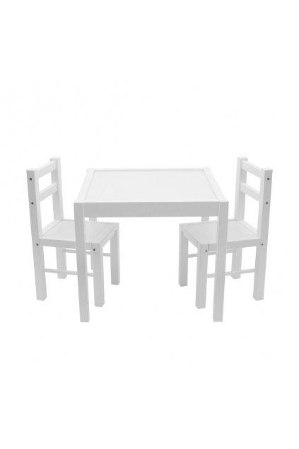 Detský drevený stôl so stoličkami New Baby PRIMA biely