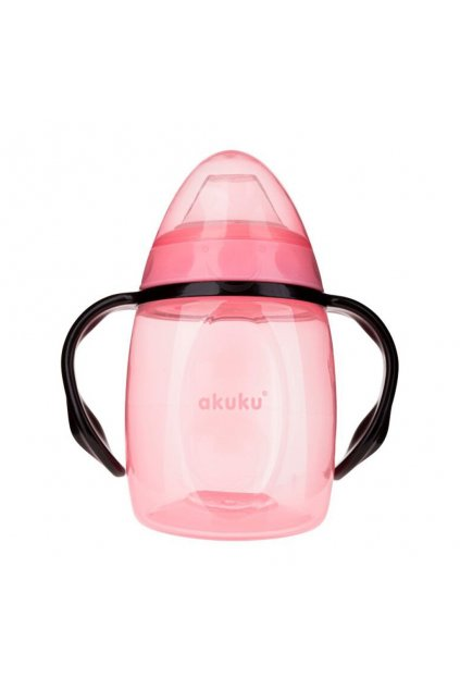 Hrnček naklonený so silikónovým náustkom Akuku 280ml rúžový