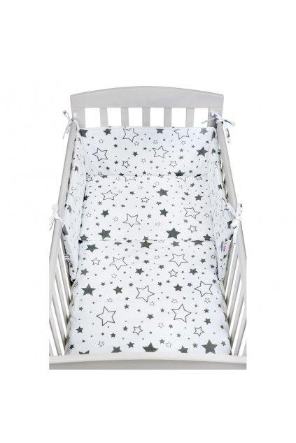 3-dielne posteľné obliečky New Baby 90/120 cm biele hviezdy sivé