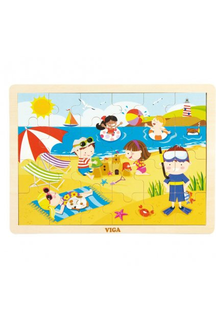 Detské drevené puzzle Viga Leto