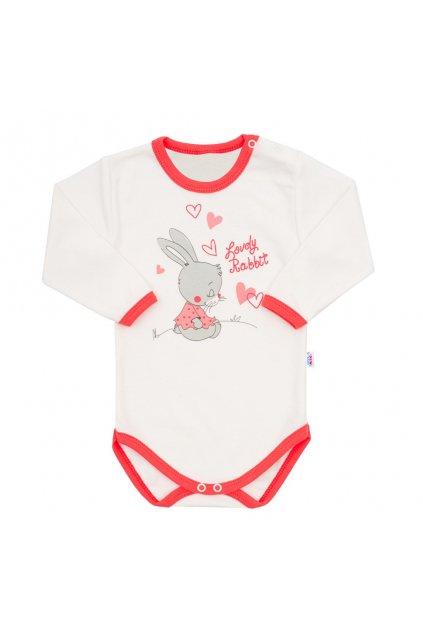 Detské body s dlhým rukávom New Baby Lovely Rabbit ružové