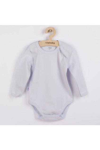 Dojčenské bavlnené body s dlhým rukávom New Baby Pastel sivé