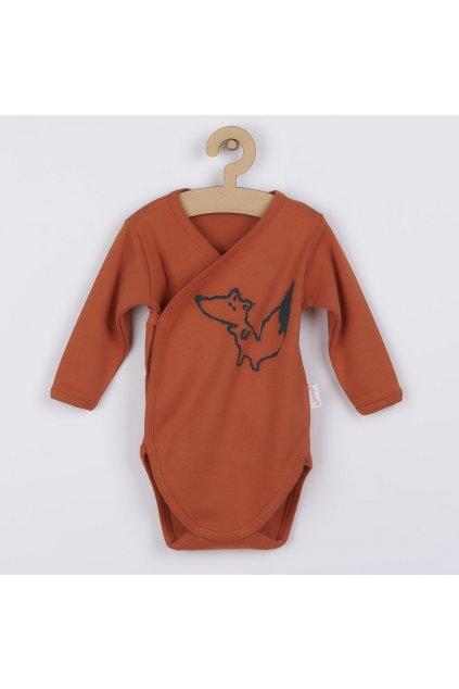 Dojčenské bavlnené body s bočným zapínaním Nicol Fox Club oranžové