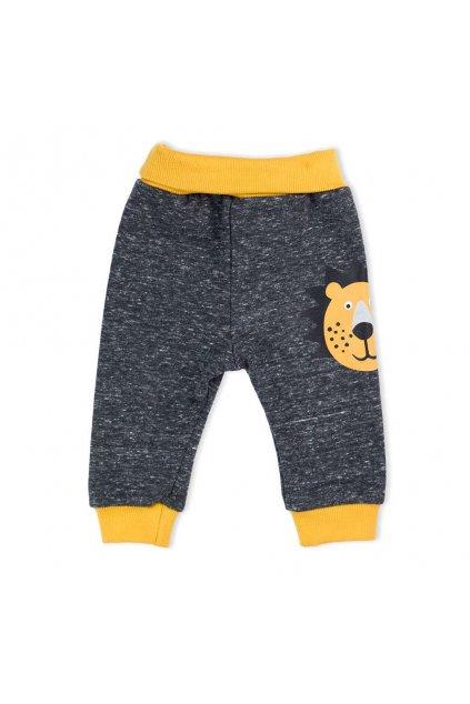 Dojčenské bavlnené tepláčky Nicol Prince Lion melírované sivé