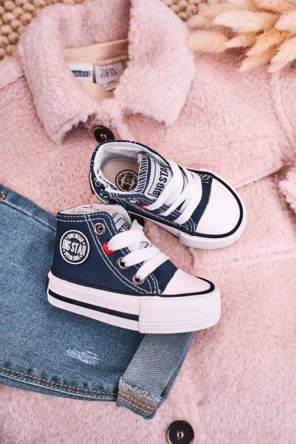 Detské tenisky farba modrá kód obuvi HH374189 NAVY
