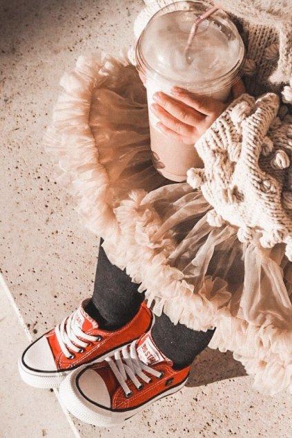 Detské tenisky farba červená kód obuvi HH374092 RED