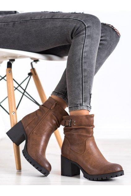 Hnedé dámske topánky Sds NJSK 7963C