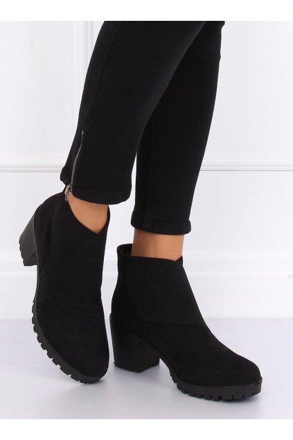 Dámske členkové topánky čierne na širokom podpätku NJSK BH151-KB