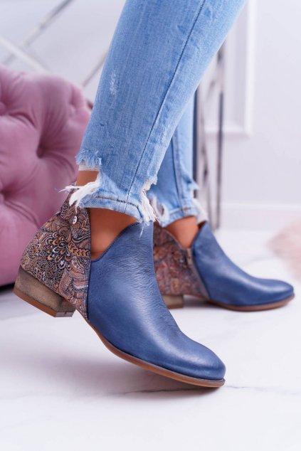 Členkové topánky na podpätku farba modrá NJSK 04091-27 GRANAT+KWIATY RUDE