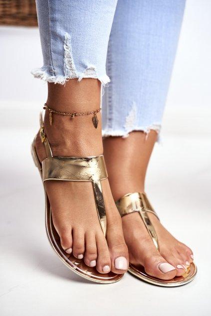 Dámske ploché sandále farba žltá NJSK ZY38-051-24 GOLD