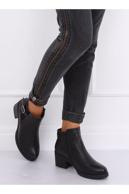 Dámske členkové topánky čierne na širokom podpätku NJSK B0-232
