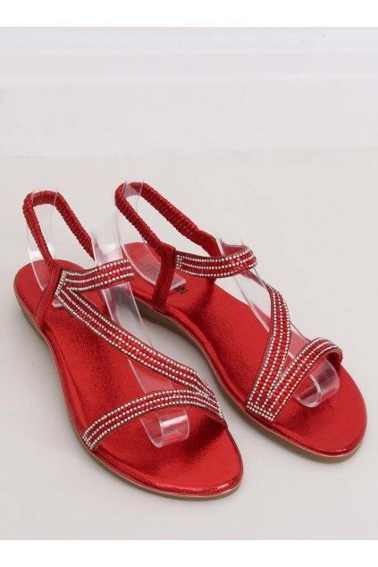 Dámske sandále červené na plochom podpätku NJSK KM-33