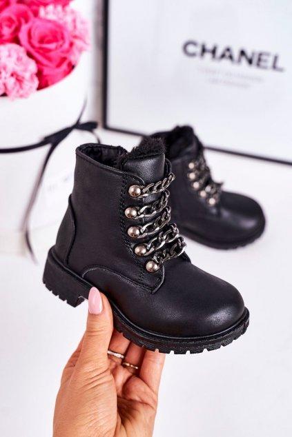 Detské členkové topánky farba čierna NJSK TL41K-1 BLACK