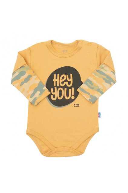 Dojčenské bavlnené body s dlhým rukávom New Baby With Love horčicové