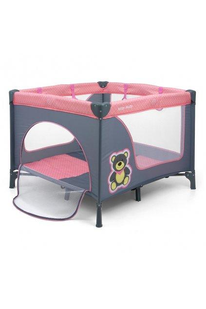 Detská skladacia ohrádka Milly Mally Fun Pink Bear