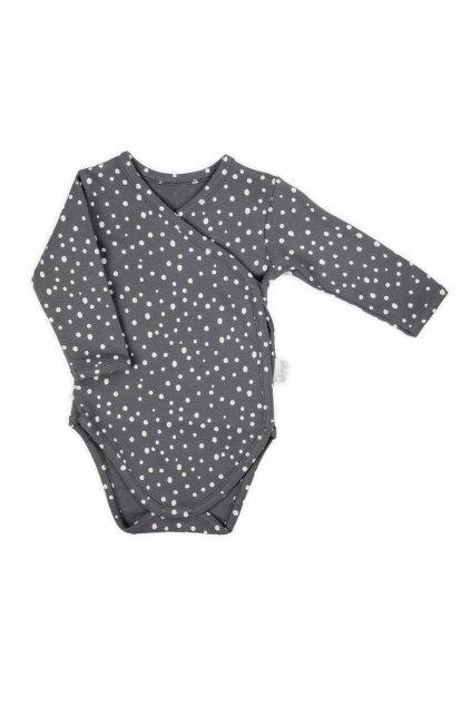 Dojčenské bavlnené body s bočným zapínaním Nicol Rainbow sivé