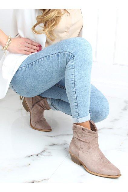 Dámske členkové topánky hnedé na širokom podpätku 99-65