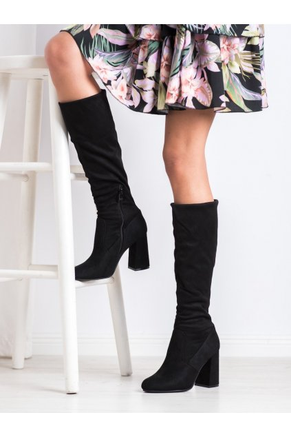 Čierne čižmy Sweet shoes NJSK D7533B