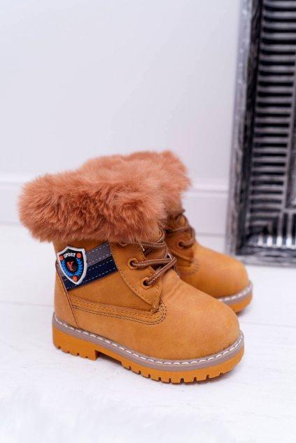 Detské členkové topánky farba hnedá NJSK 20313-1B/2B CAMEL