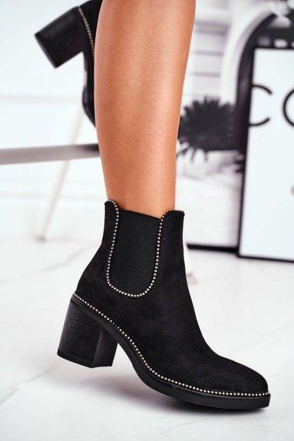 Členkové topánky na podpätku farba čierna NJSK 15672 BLK