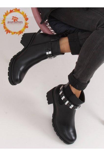 Dámske členkové topánky čierne na širokom podpätku NJSK CH19176