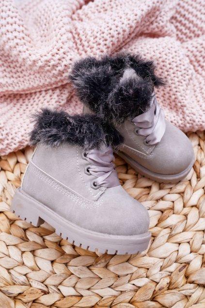 Detské členkové topánky farba sivá NJSK 20314-1D/2D GREY