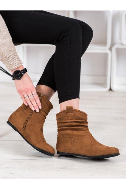 Hnedé dámske topánky Shelovet NJSK DX1660C
