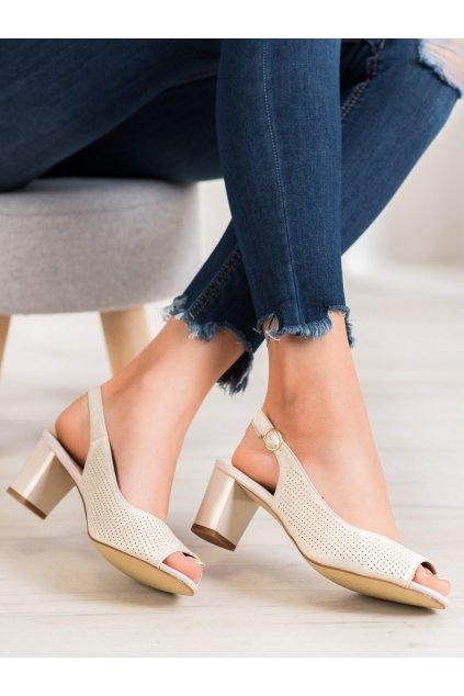 Zlaté sandále na hrubom podpätku NJSK SK794GO