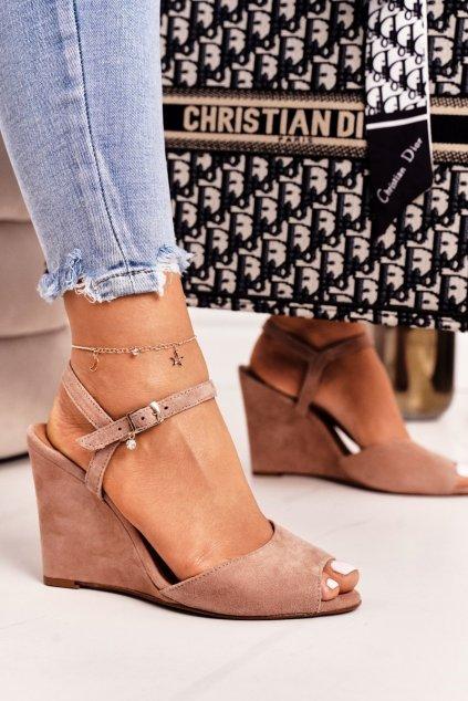 Dámske sandále na podpätku farba ružová kód obuvi 2253 312 POWDER PINK