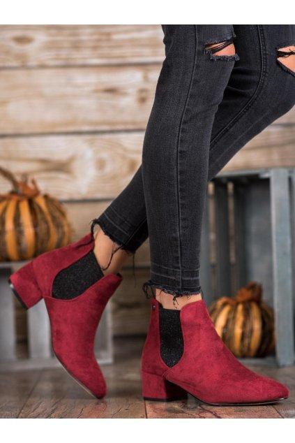 Červené dámske topánky na hrubom podpätku Ideal shoes NJSK B-6858WI