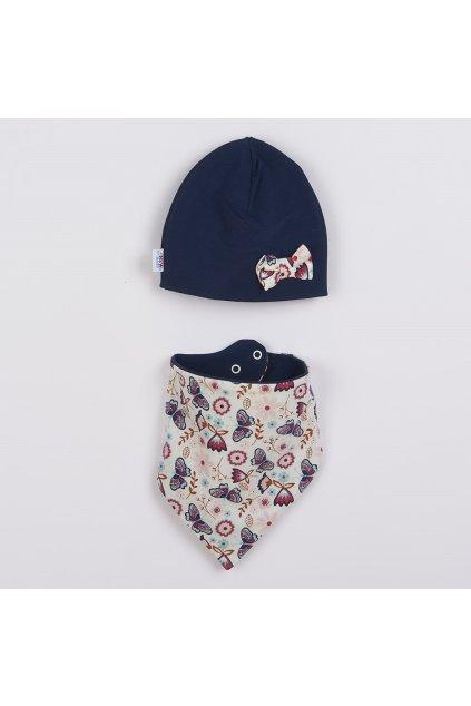 Dojčenská čiapočka s šatkou na krk New Baby Missy modrá