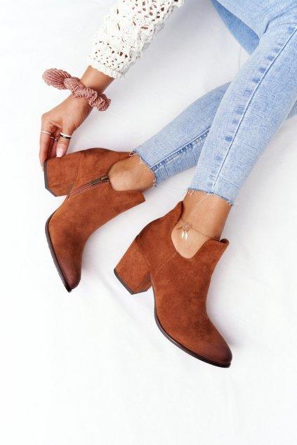 Členkové topánky na podpätku farba hnedá kód obuvi 21-10558 CA CAMEL