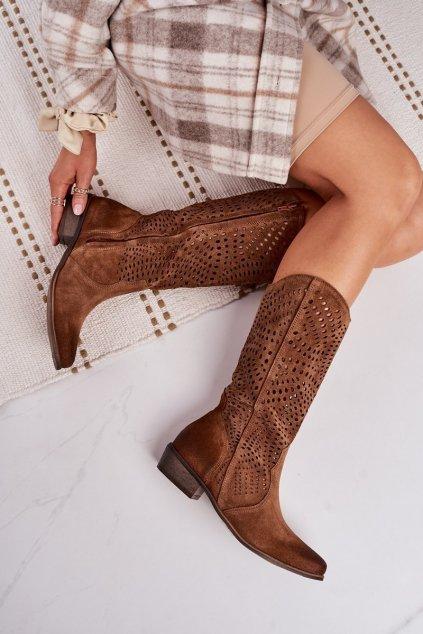 Dámske čižmy farba hnedá kód obuvi 1229 KONIAK.WELUR