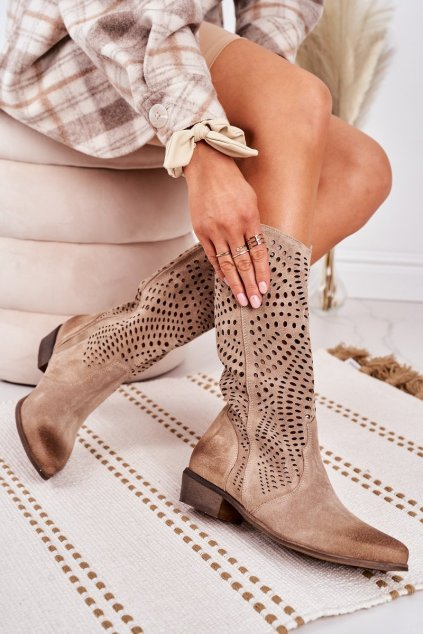Dámske čižmy farba hnedá kód obuvi 1229 BEŻ.WELUR