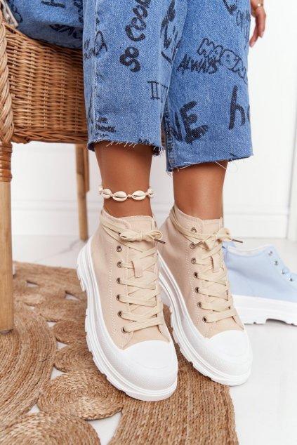 Dámske tenisky farba hnedá kód obuvi F037 BEIGE / HF1002 KHAKI