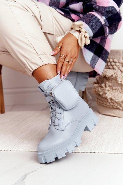 Členkové topánky na podpätku farba modrá kód obuvi NC1132 BLUE
