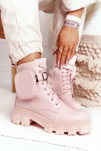 Členkové topánky na podpätku farba ružová kód obuvi NC1132 PINK