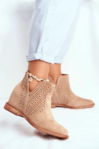 Členkové topánky na podpätku farba hnedá kód obuvi 208-1 BEIGE