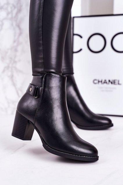 Členkové topánky na podpätku farba čierna NJSK 20Y8133-1P BLACK