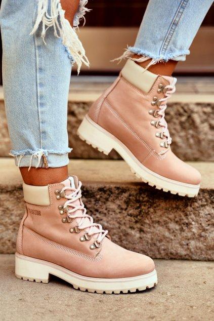 Členkové topánky na podpätku farba ružová NJSK EE274034 PINK