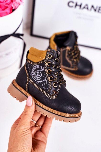 Detské členkové topánky farba čierna NJSK A1353 BLACK