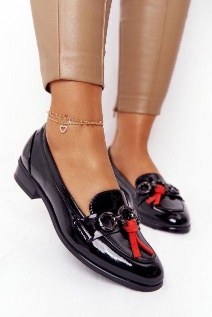 Dámske mokasíny farba čierna kód obuvi 21-10585 BLK LAK