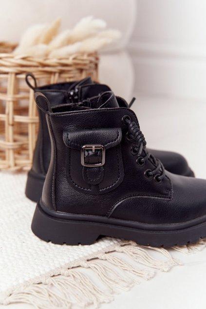 Detské členkové topánky farba čierna kód obuvi NQ76 NQ77 BLK