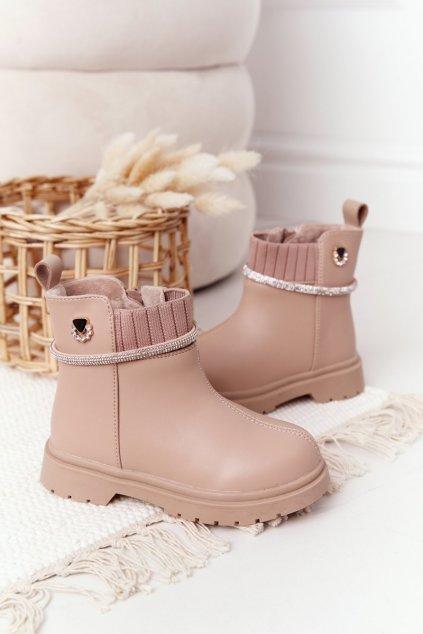 Detské členkové topánky farba hnedá kód obuvi NQ71 BEIGE