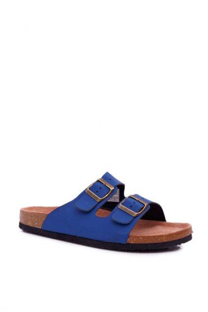 Pánske šľapky farba modrá NJSK DD174604 NAVY