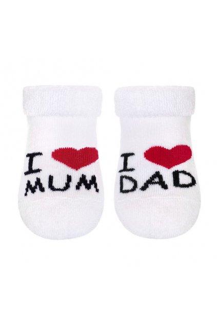 Dojčenské froté ponožky New Baby biele I Love Mum and Dad NJSK 26541