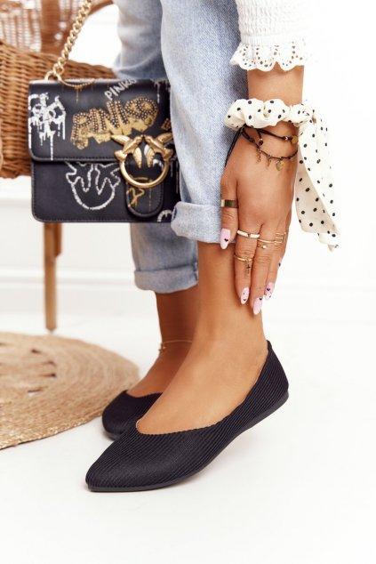 Dámske balerínky farba čierna kód obuvi 21-2187 BLK