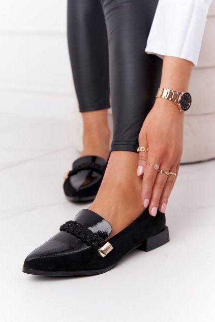 Dámske mokasíny farba čierna kód obuvi A18 SUEDE BLK