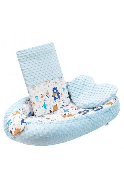 Luxusné hniezdočko s vankúšikom a perinkou New Baby z Minky modré NJSK 42978